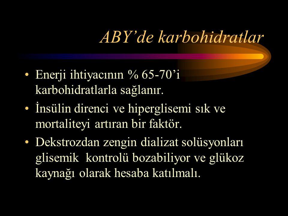 ABY'de karbohidratlar •Enerji ihtiyacının % 65-70'i karbohidratlarla sağlanır. •İnsülin direnci ve hiperglisemi sık ve mortaliteyi artıran bir faktör.