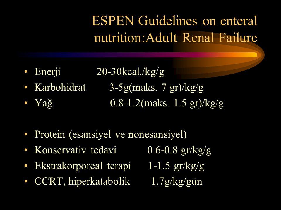 ESPEN Guidelines on enteral nutrition:Adult Renal Failure •Enerji 20-30kcal./kg/g •Karbohidrat 3-5g(maks. 7 gr)/kg/g •Yağ 0.8-1.2(maks. 1.5 gr)/kg/g •