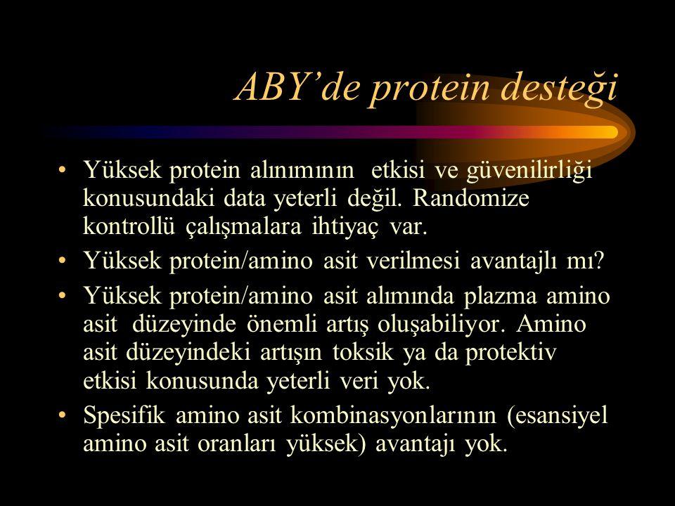 ABY'de protein desteği •Yüksek protein alınımının etkisi ve güvenilirliği konusundaki data yeterli değil. Randomize kontrollü çalışmalara ihtiyaç var.