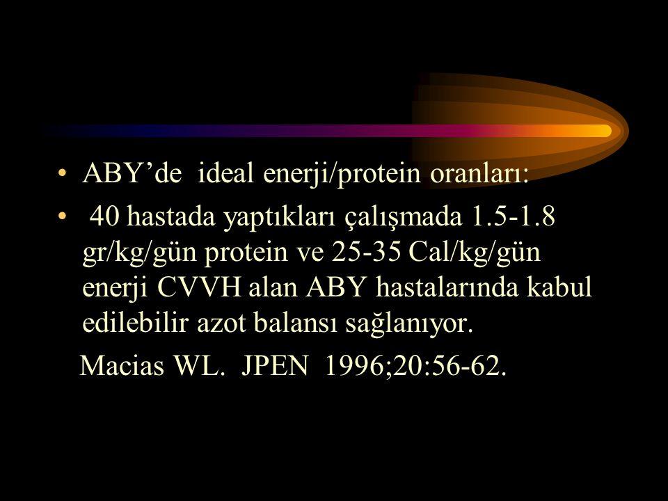 •ABY'de ideal enerji/protein oranları: • 40 hastada yaptıkları çalışmada 1.5-1.8 gr/kg/gün protein ve 25-35 Cal/kg/gün enerji CVVH alan ABY hastaların