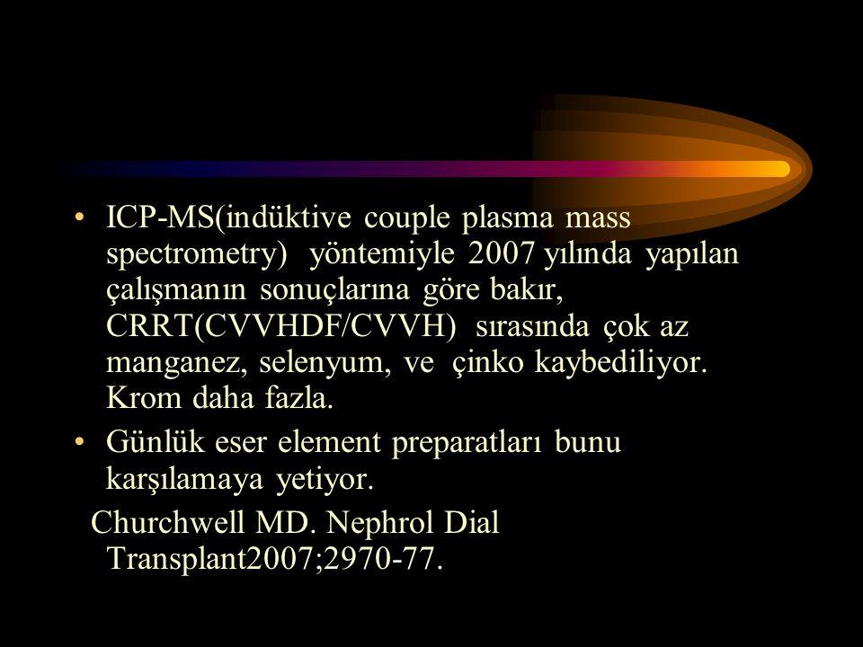 •ICP-MS(indüktive couple plasma mass spectrometry) yöntemiyle 2007 yılında yapılan çalışmanın sonuçlarına göre bakır, CRRT(CVVHDF/CVVH) sırasında çok