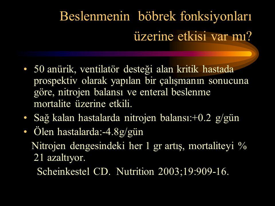 Beslenmenin böbrek fonksiyonları üzerine etkisi var mı? •50 anürik, ventilatör desteği alan kritik hastada prospektiv olarak yapılan bir çalışmanın so