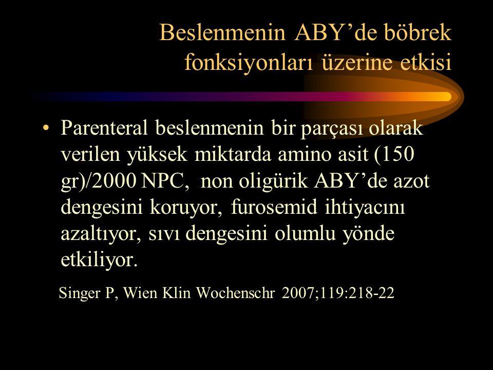 Beslenmenin ABY'de böbrek fonksiyonları üzerine etkisi •Parenteral beslenmenin bir parçası olarak verilen yüksek miktarda amino asit (150 gr)/2000 NPC