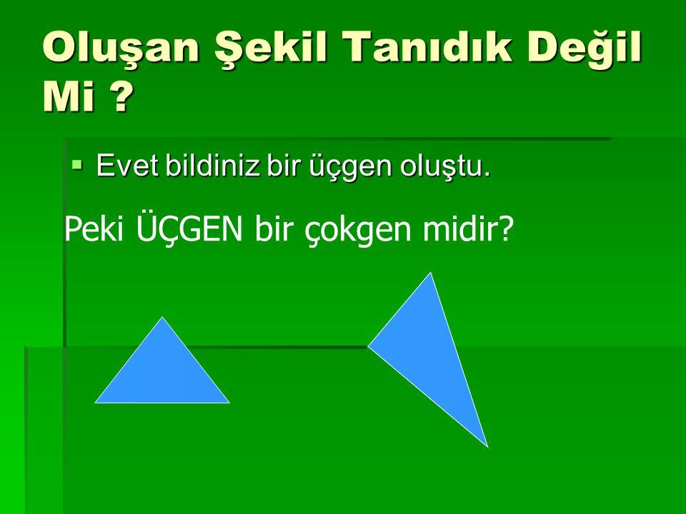 Oluşan Şekil Tanıdık Değil Mi ?  Evet bildiniz bir üçgen oluştu. Peki ÜÇGEN bir çokgen midir?