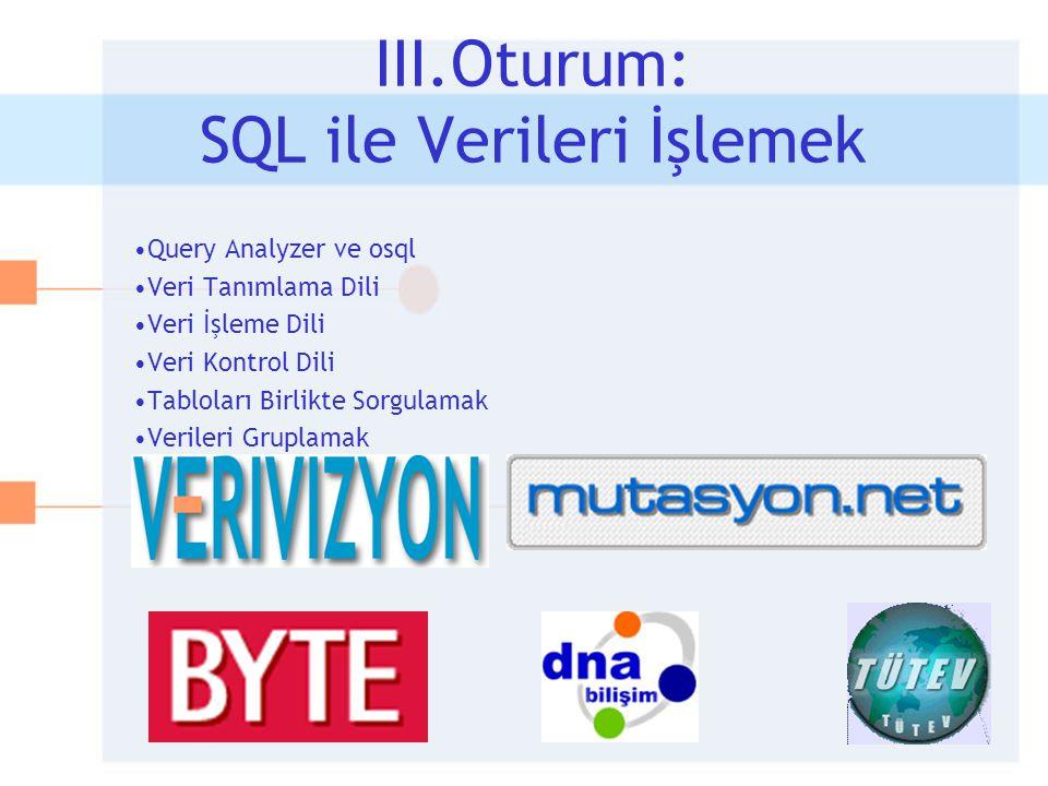 •Query Analyzer ve osql •Veri Tanımlama Dili •Veri İşleme Dili •Veri Kontrol Dili •Tabloları Birlikte Sorgulamak •Verileri Gruplamak III.Oturum: SQL i