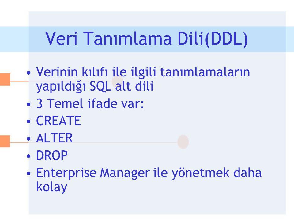 Veri Tanımlama Dili(DDL) •Verinin kılıfı ile ilgili tanımlamaların yapıldığı SQL alt dili •3 Temel ifade var: •CREATE •ALTER •DROP •Enterprise Manager