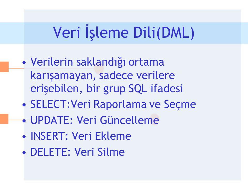 Veri İşleme Dili(DML) •Verilerin saklandığı ortama karışamayan, sadece verilere erişebilen, bir grup SQL ifadesi •SELECT:Veri Raporlama ve Seçme •UPDA