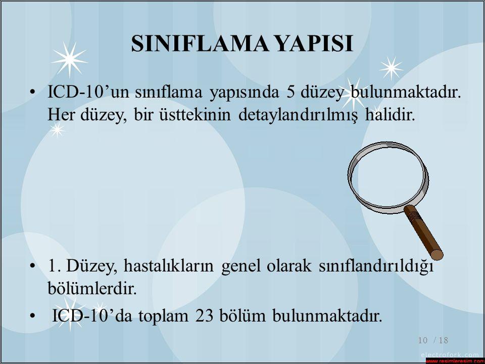 / 1810 SINIFLAMA YAPISI •ICD-10'un sınıflama yapısında 5 düzey bulunmaktadır. Her düzey, bir üsttekinin detaylandırılmış halidir. •1. Düzey, hastalıkl