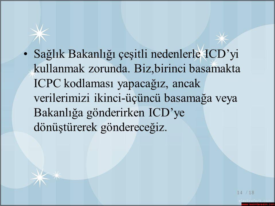 / 1814 •Sağlık Bakanlığı çeşitli nedenlerle ICD'yi kullanmak zorunda. Biz,birinci basamakta ICPC kodlaması yapacağız, ancak verilerimizi ikinci-üçüncü