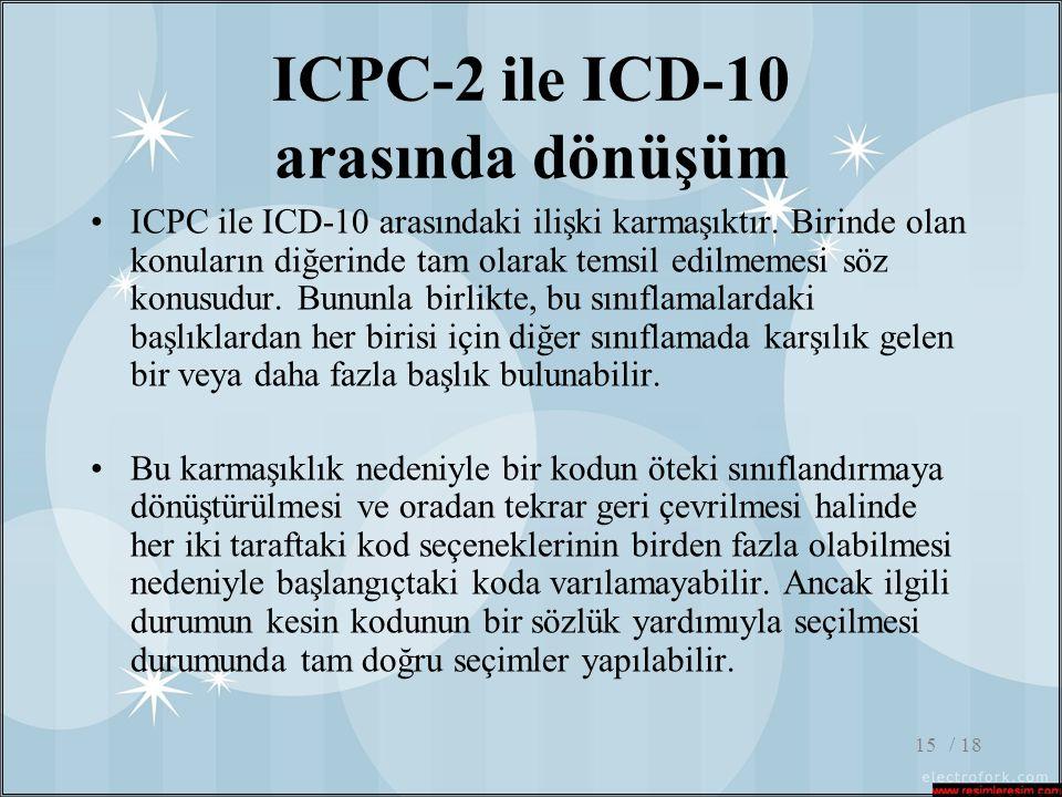 / 1815 ICPC-2 ile ICD-10 arasında dönüşüm •ICPC ile ICD-10 arasındaki ilişki karmaşıktır. Birinde olan konuların diğerinde tam olarak temsil edilmemes