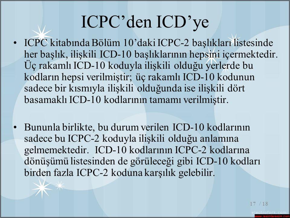 / 1817 ICPC'den ICD'ye •ICPC kitabında Bölüm 10'daki ICPC-2 başlıkları listesinde her başlık, ilişkili ICD-10 başlıklarının hepsini içermektedir. Üç r