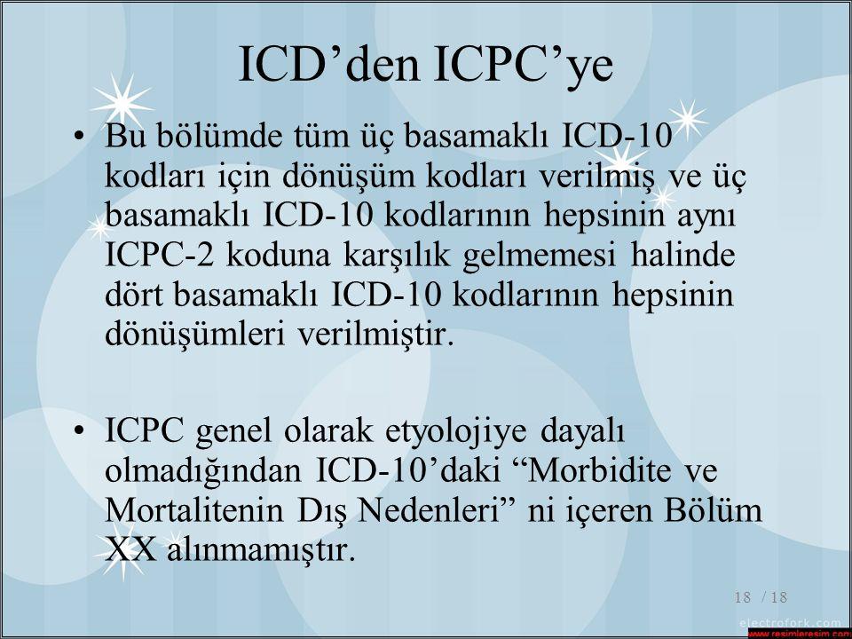 / 1818 ICD'den ICPC'ye •Bu bölümde tüm üç basamaklı ICD-10 kodları için dönüşüm kodları verilmiş ve üç basamaklı ICD-10 kodlarının hepsinin aynı ICPC-