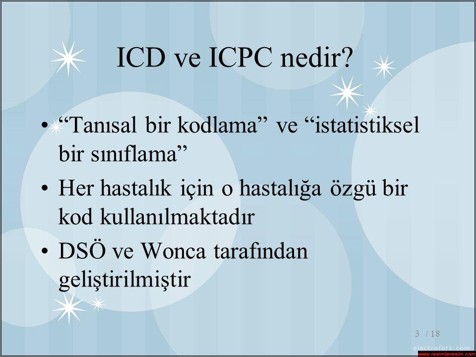 / 184 ICD ve ICPC farkı •Hastalık sınıflamaları sağlık çalışanlarının hastanın sağlık sorununu rahatsızlık, hastalık veya yaralanma şeklinde yorumlayıp kodlamasına izin verecek özellikte oluşturulmuştur.