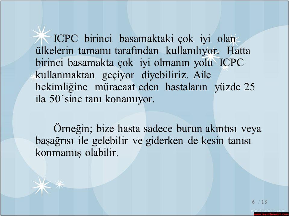 / 186 ICPC birinci basamaktaki çok iyi olan ülkelerin tamamı tarafından kullanılıyor. Hatta birinci basamakta çok iyi olmanın yolu ICPC kullanmaktan g