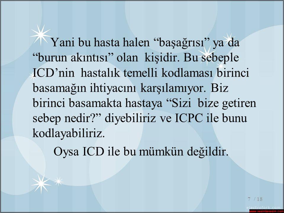 """/ 187 Yani bu hasta halen """"başağrısı"""" ya da """"burun akıntısı"""" olan kişidir. Bu sebeple ICD'nin hastalık temelli kodlaması birinci basamağın ihtiyacını"""