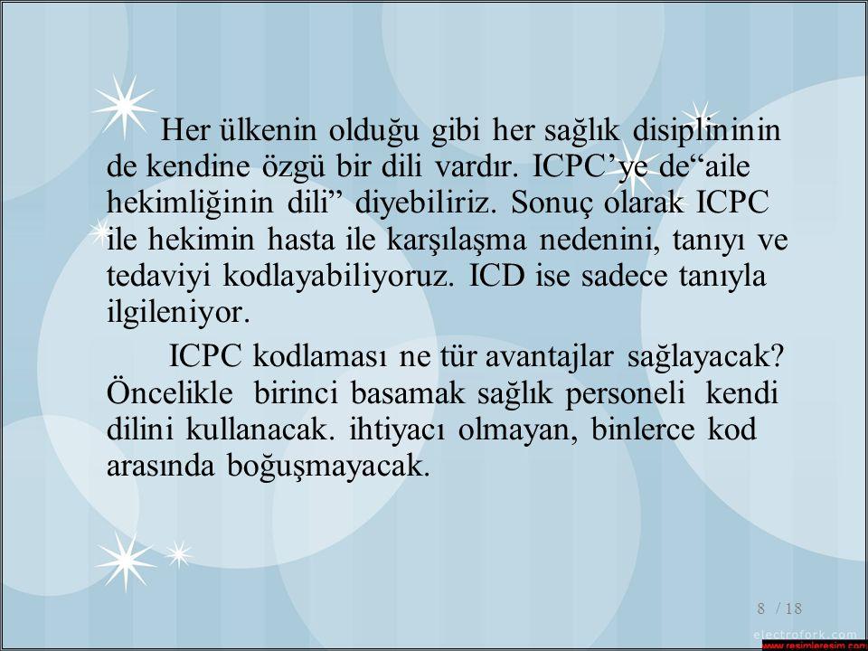 """/ 188 Her ülkenin olduğu gibi her sağlık disiplininin de kendine özgü bir dili vardır. ICPC'ye de""""aile hekimliğinin dili"""" diyebiliriz. Sonuç olarak IC"""