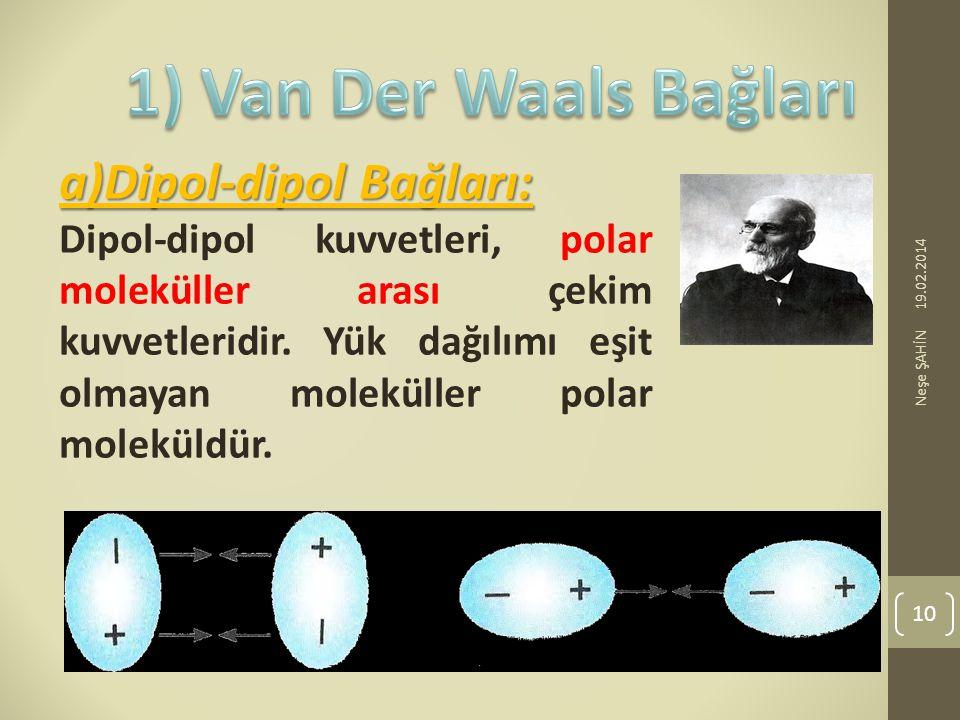 19.02.2014 Neşe ŞAHİN 10 a)Dipol-dipol Bağları: Dipol-dipol kuvvetleri, polar moleküller arası çekim kuvvetleridir. Yük dağılımı eşit olmayan moleküll
