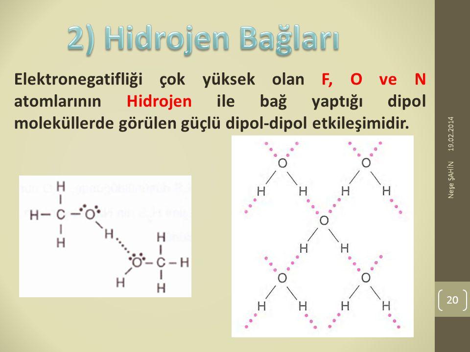 Elektronegatifliği çok yüksek olan F, O ve N atomlarının Hidrojen ile bağ yaptığı dipol moleküllerde görülen güçlü dipol-dipol etkileşimidir. 19.02.20