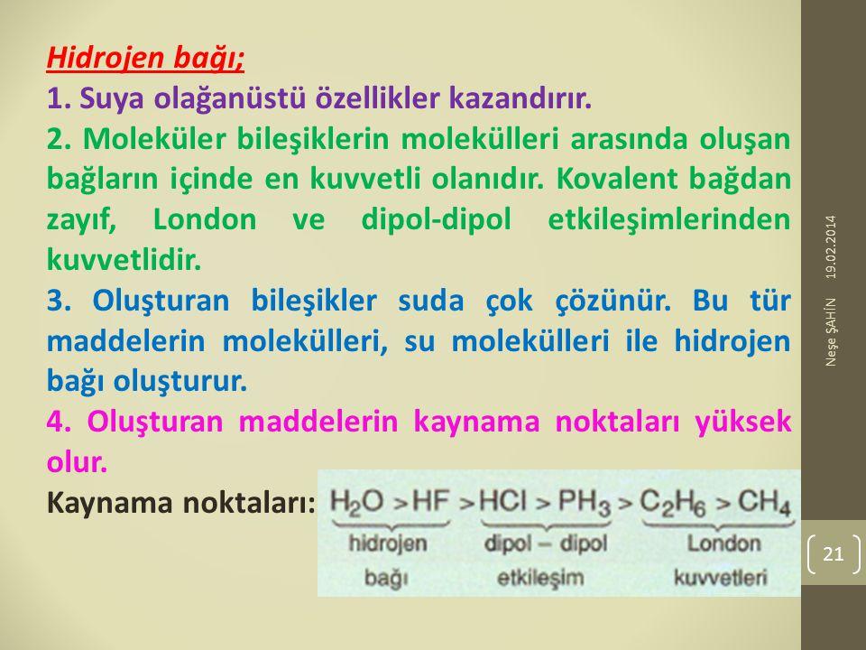 Hidrojen bağı; 1. Suya olağanüstü özellikler kazandırır. 2. Moleküler bileşiklerin molekülleri arasında oluşan bağların içinde en kuvvetli olanıdır. K