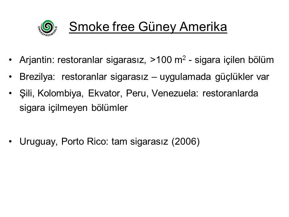 Smoke free Güney Amerika •Arjantin: restoranlar sigarasız, >100 m 2 - sigara içilen bölüm •Brezilya: restoranlar sigarasız – uygulamada güçlükler var