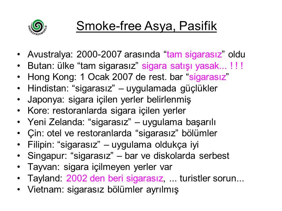 """Smoke-free Asya, Pasifik •Avustralya: 2000-2007 arasında """"tam sigarasız"""" oldu •Butan: ülke """"tam sigarasız"""" sigara satışı yasak... ! ! ! •Hong Kong: 1"""