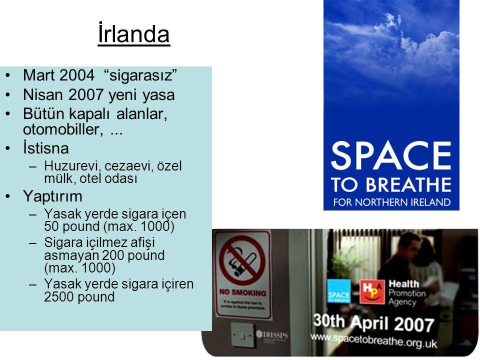"""İrlanda •Mart 2004 """"sigarasız"""" •Nisan 2007 yeni yasa •Bütün kapalı alanlar, otomobiller,... •İstisna –Huzurevi, cezaevi, özel mülk, otel odası •Yaptır"""