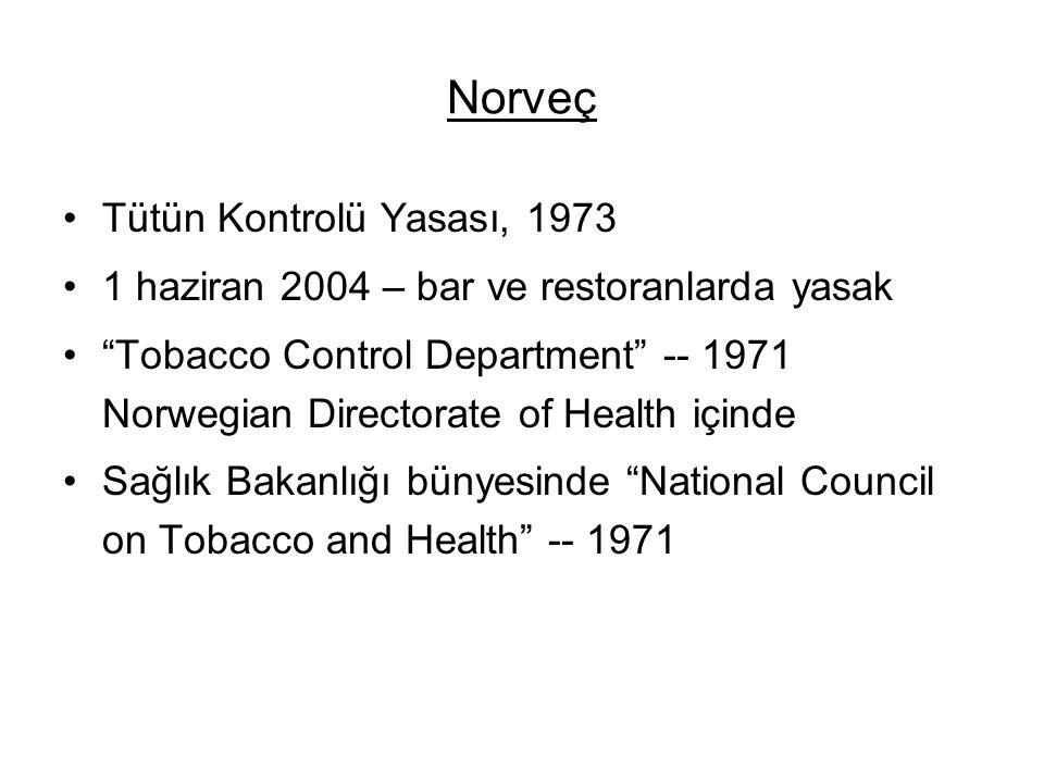 """Norveç •Tütün Kontrolü Yasası, 1973 •1 haziran 2004 – bar ve restoranlarda yasak •""""Tobacco Control Department"""" -- 1971 Norwegian Directorate of Health"""