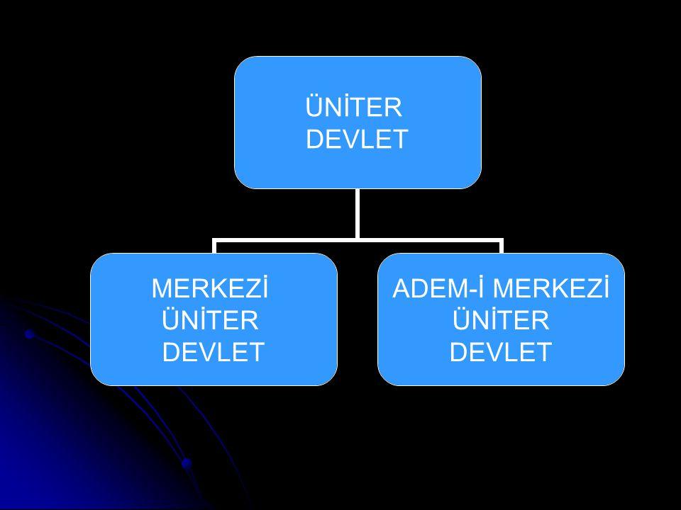 ÜNİTER DEVLET MERKEZİ ÜNİTER DEVLET ADEM-İ MERKEZİ ÜNİTER DEVLET