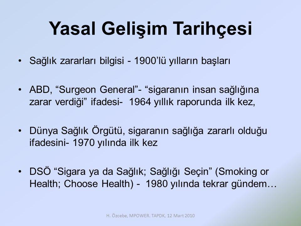 Yasal Gelişim Tarihçesi •Sağlık zararları bilgisi - 1900'lü yılların başları •ABD, Surgeon General - sigaranın insan sağlığına zarar verdiği ifadesi- 1964 yıllık raporunda ilk kez, •Dünya Sağlık Örgütü, sigaranın sağlığa zararlı olduğu ifadesini- 1970 yılında ilk kez •DSÖ Sigara ya da Sağlık; Sağlığı Seçin (Smoking or Health; Choose Health) - 1980 yılında tekrar gündem… H.