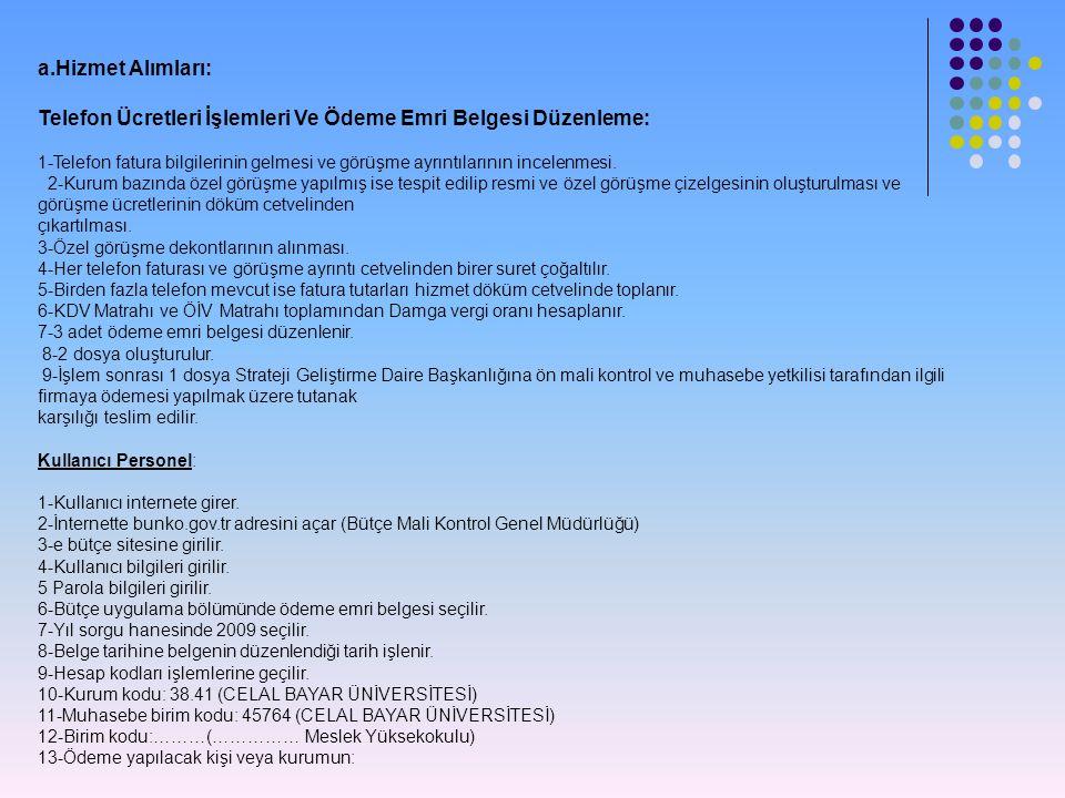 a.Hizmet Alımları: Telefon Ücretleri İşlemleri Ve Ödeme Emri Belgesi Düzenleme: 1-Telefon fatura bilgilerinin gelmesi ve görüşme ayrıntılarının incele