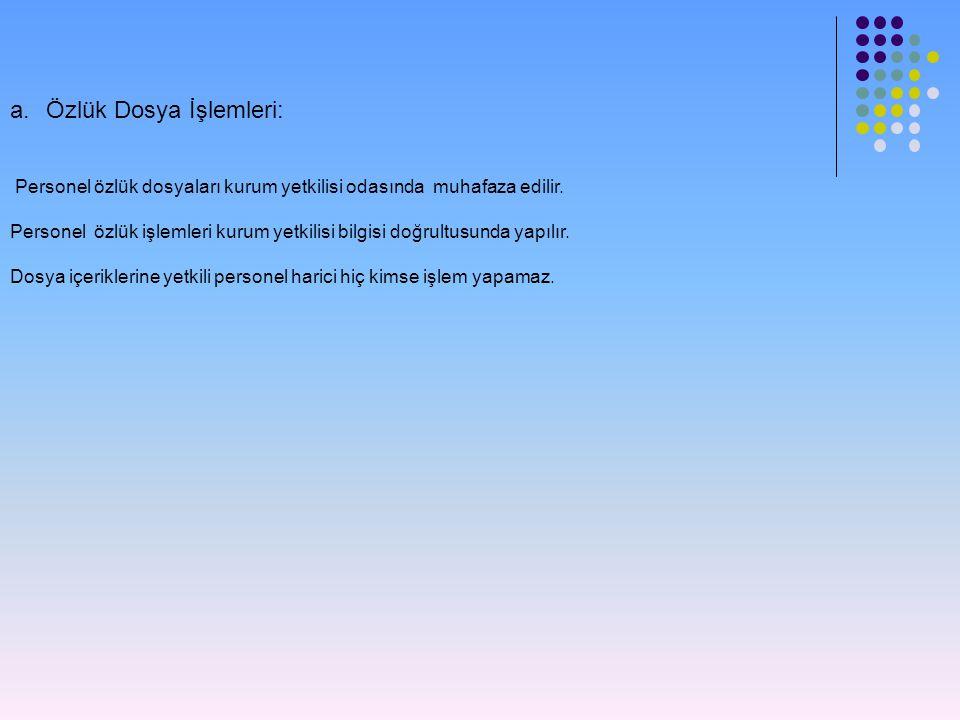 a.Özlük Dosya İşlemleri: Personel özlük dosyaları kurum yetkilisi odasında muhafaza edilir.