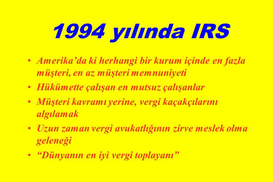 1994 yılında IRS •Amerika'da ki herhangi bir kurum içinde en fazla müşteri, en az müşteri memnuniyeti •Hükümette çalışan en mutsuz çalışanlar •Müşteri kavramı yerine, vergi kaçakçılarını algılamak •Uzun zaman vergi avukatlığının zirve meslek olma geleneği • Dünyanın en iyi vergi toplayanı