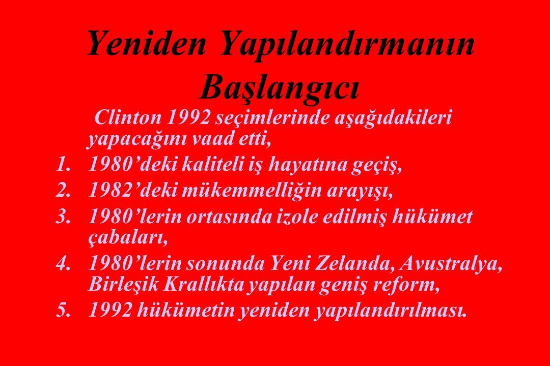 Yeniden Yapılandırmanın Başlangıcı Clinton 1992 seçimlerinde aşağıdakileri yapacağını vaad etti, 1.1980'deki kaliteli iş hayatına geçiş, 2.1982'deki mükemmelliğin arayışı, 3.1980'lerin ortasında izole edilmiş hükümet çabaları, 4.1980'lerin sonunda Yeni Zelanda, Avustralya, Birleşik Krallıkta yapılan geniş reform, 5.1992 hükümetin yeniden yapılandırılması.