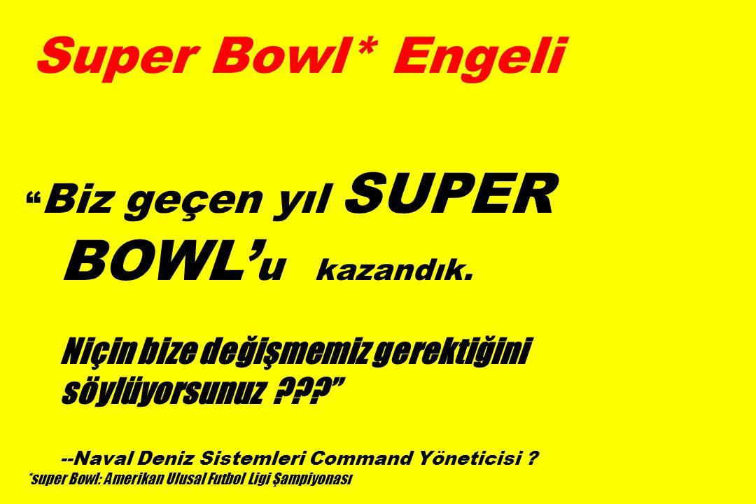 Super Bowl* Engeli Biz geçen yıl SUPER BOWL' u kazandık.