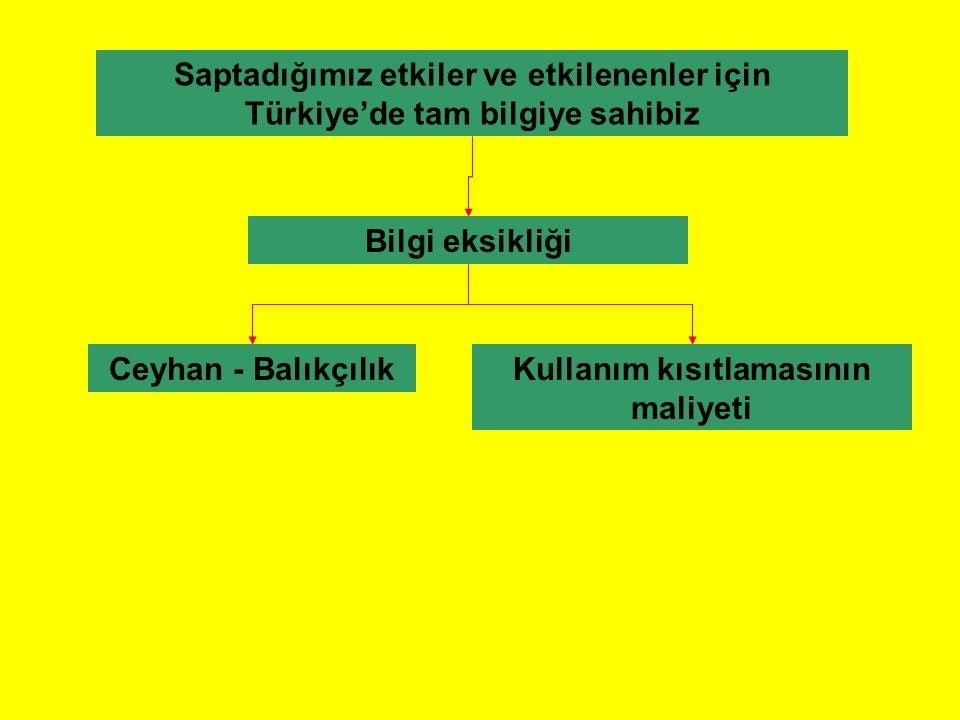 Saptadığımız etkiler ve etkilenenler için Türkiye'de tam bilgiye sahibiz Bilgi eksikliği Kullanım kısıtlamasının maliyeti Ceyhan - Balıkçılık