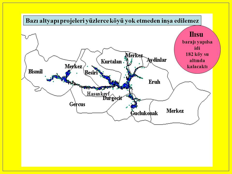 Bazı altyapı projeleri yüzlerce köyü yok etmeden inşa edilemez Ilısu barajı yapılsa idi 182 köy su altında kalacaktı