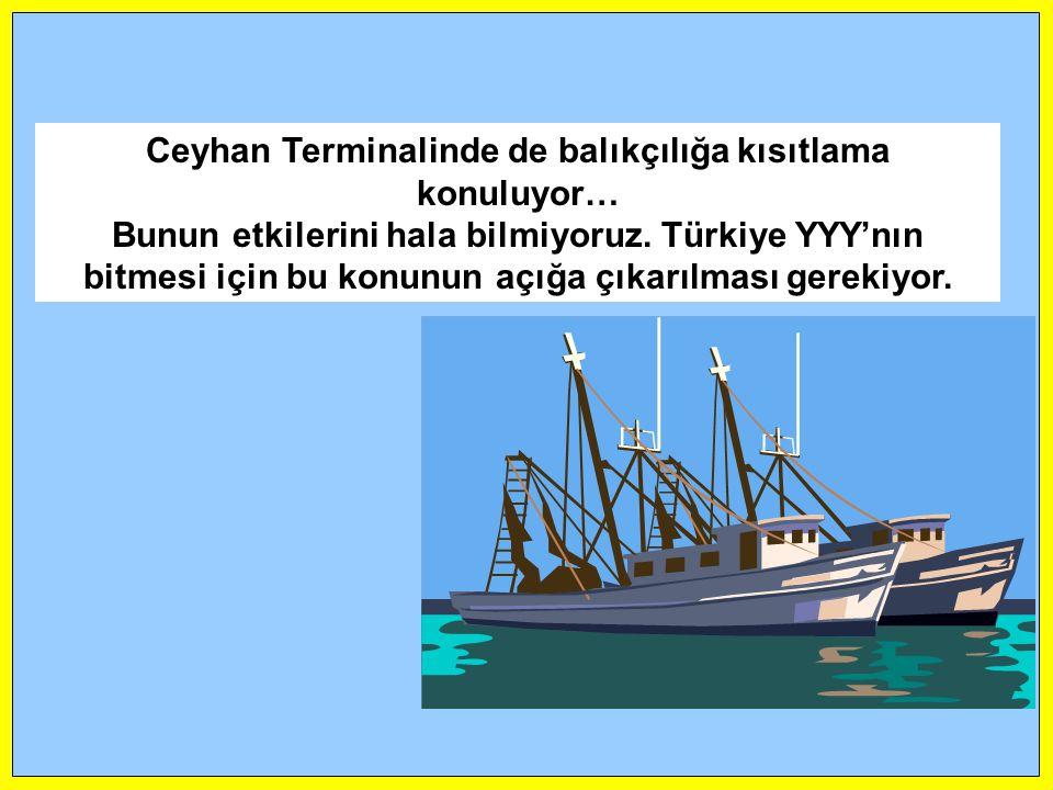 Ceyhan Terminalinde de balıkçılığa kısıtlama konuluyor… Bunun etkilerini hala bilmiyoruz. Türkiye YYY'nın bitmesi için bu konunun açığa çıkarılması ge