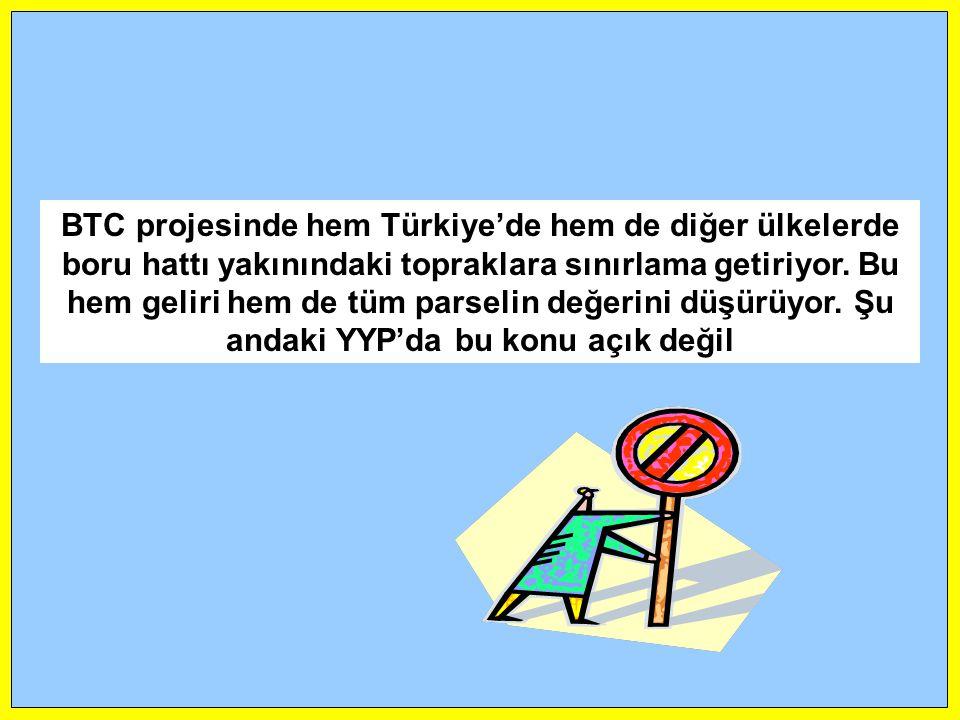 BTC projesinde hem Türkiye'de hem de diğer ülkelerde boru hattı yakınındaki topraklara sınırlama getiriyor. Bu hem geliri hem de tüm parselin değerini