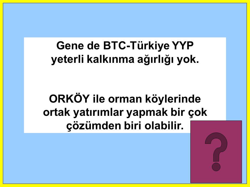 Gene de BTC-Türkiye YYP yeterli kalkınma ağırlığı yok. ORKÖY ile orman köylerinde ortak yatırımlar yapmak bir çok çözümden biri olabilir.