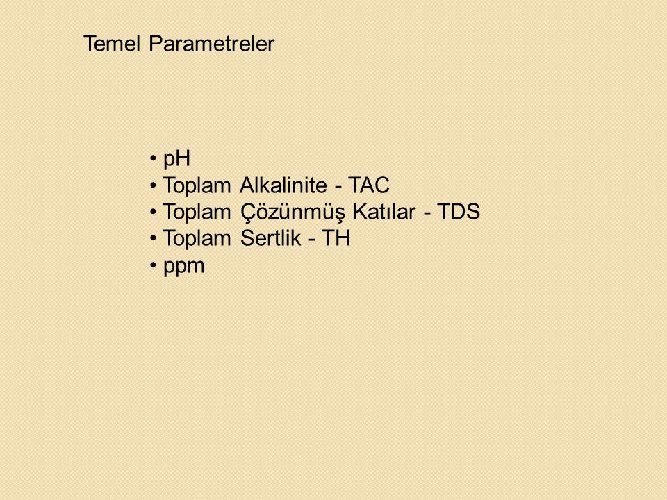 • pH • Toplam Alkalinite - TAC • Toplam Çözünmüş Katılar - TDS • Toplam Sertlik - TH • ppm Temel Parametreler