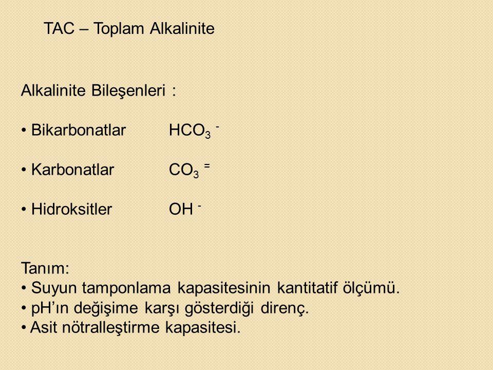 TAC – Toplam Alkalinite Alkalinite Bileşenleri : • BikarbonatlarHCO 3 - • KarbonatlarCO 3 = • HidroksitlerOH - Tanım: • Suyun tamponlama kapasitesinin