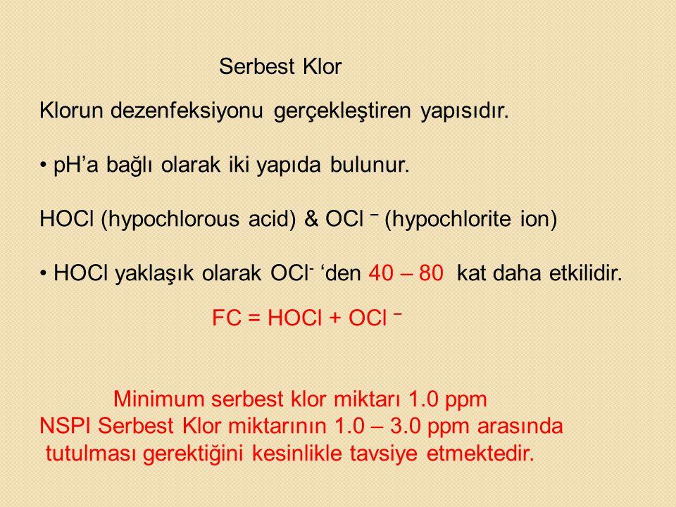 Serbest Klor Klorun dezenfeksiyonu gerçekleştiren yapısıdır. • pH'a bağlı olarak iki yapıda bulunur. HOCl (hypochlorous acid) & OCl – (hypochlorite io