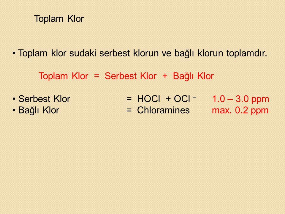 Toplam Klor • Toplam klor sudaki serbest klorun ve bağlı klorun toplamdır. Toplam Klor = Serbest Klor + Bağlı Klor • Serbest Klor = HOCl + OCl – 1.0 –