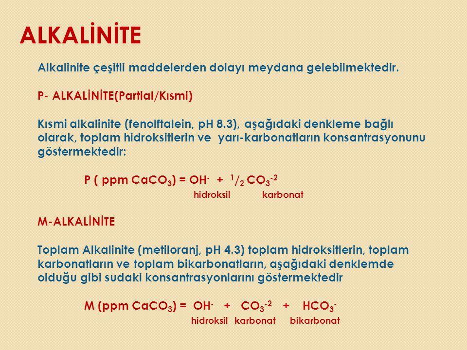 ALKALİNİTE Alkalinite çeşitli maddelerden dolayı meydana gelebilmektedir. P- ALKALİNİTE(Partial/Kısmi) Kısmi alkalinite (fenolftalein, pH 8.3), aşağıd