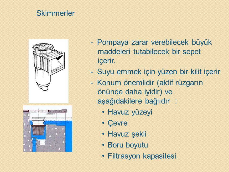 Skimmerler - Pompaya zarar verebilecek büyük maddeleri tutabilecek bir sepet içerir. - Suyu emmek için yüzen bir kilit içerir - Konum önemlidir (aktif