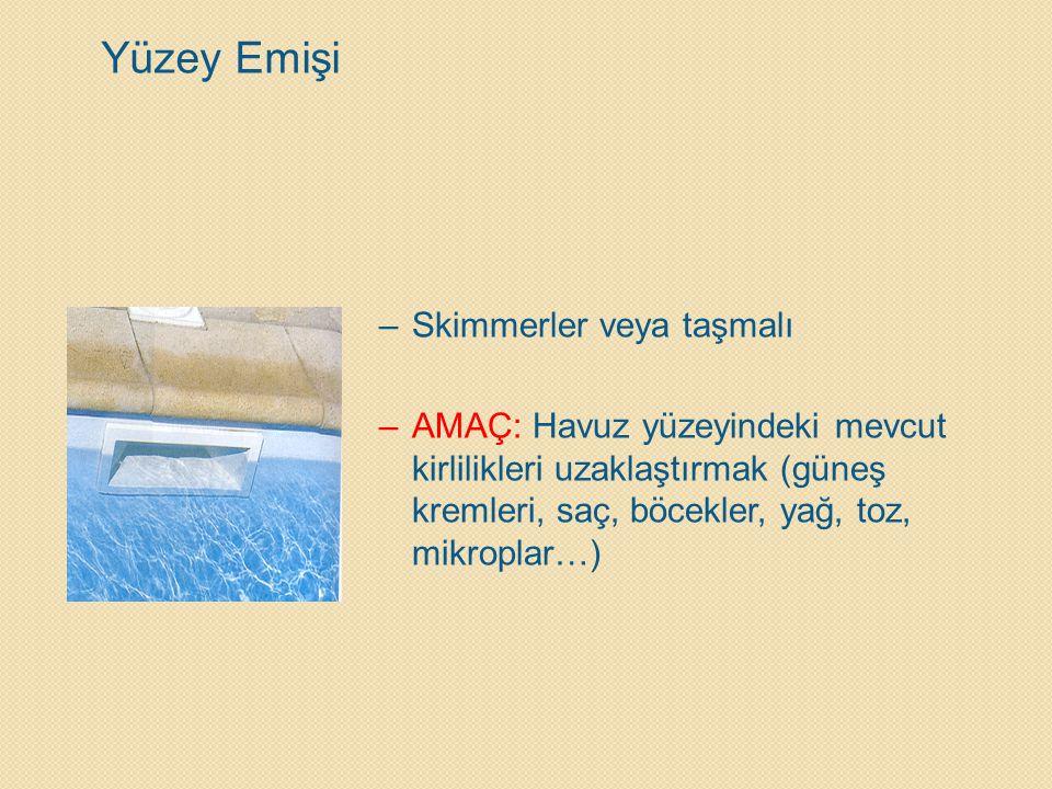 –Skimmerler veya taşmalı –AMAÇ: Havuz yüzeyindeki mevcut kirlilikleri uzaklaştırmak (güneş kremleri, saç, böcekler, yağ, toz, mikroplar…) Yüzey Emişi