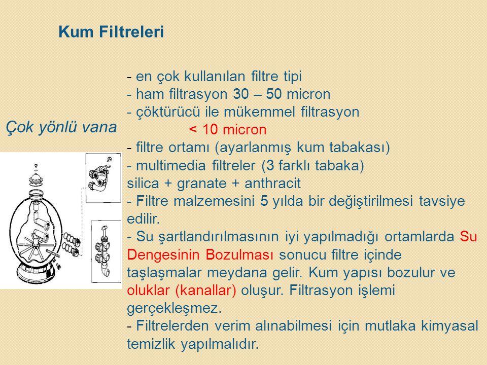 Kum Filtreleri Çok yönlü vana - en çok kullanılan filtre tipi - ham filtrasyon 30 – 50 micron - çöktürücü ile mükemmel filtrasyon < 10 micron - filtre