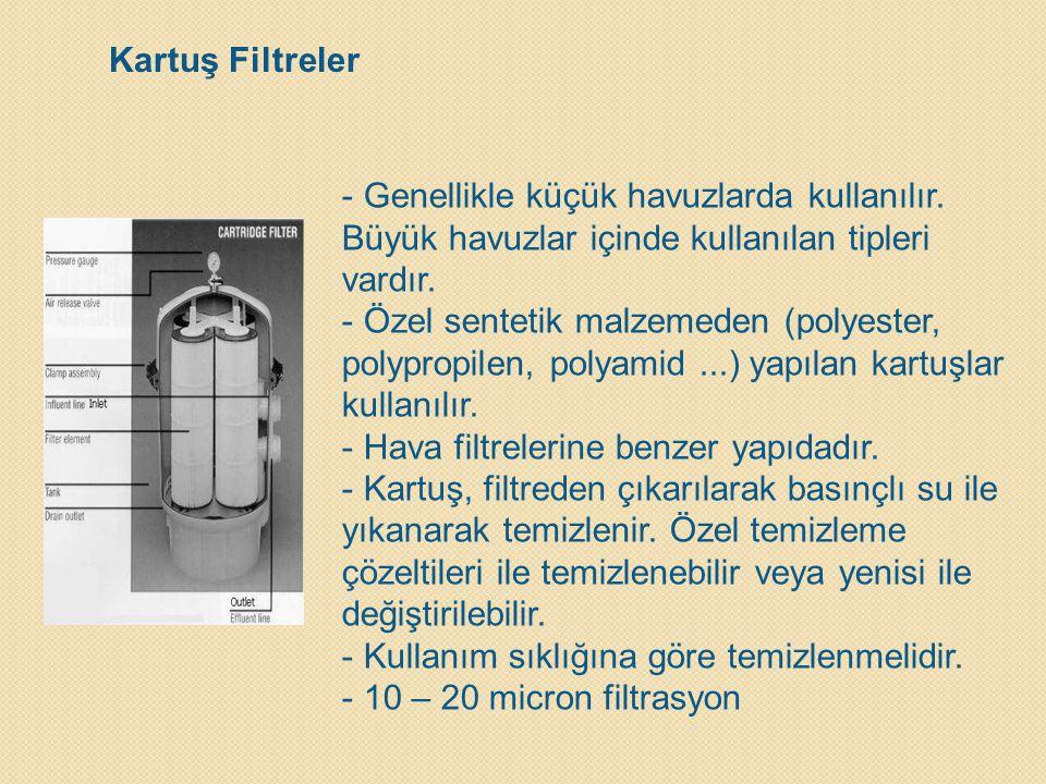 Kartuş Filtreler - Genellikle küçük havuzlarda kullanılır. Büyük havuzlar içinde kullanılan tipleri vardır. - Özel sentetik malzemeden (polyester, pol