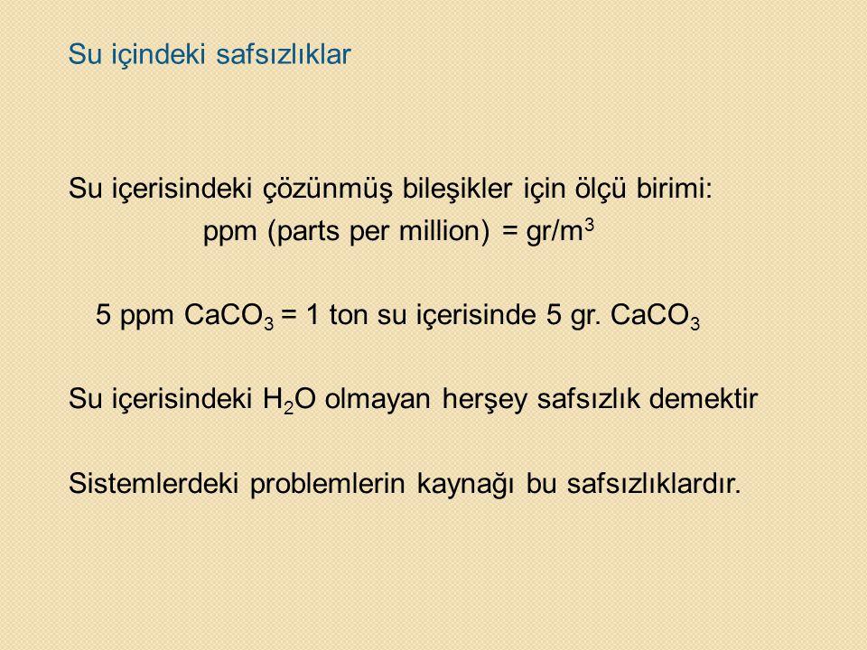 Su içindeki safsızlıklar Su içerisindeki çözünmüş bileşikler için ölçü birimi: ppm (parts per million)= gr/m 3 5 ppm CaCO 3 = 1 ton su içerisinde 5 gr