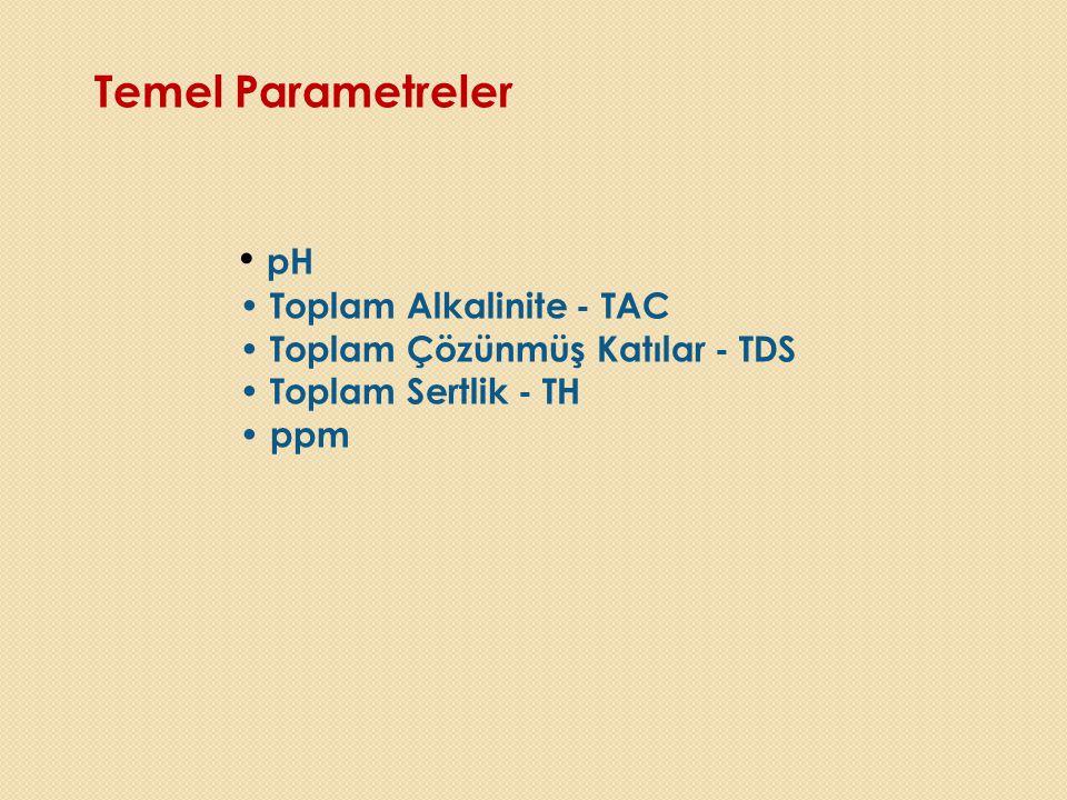 Temel Parametreler • pH • Toplam Alkalinite - TAC • Toplam Çözünmüş Katılar - TDS • Toplam Sertlik - TH • ppm